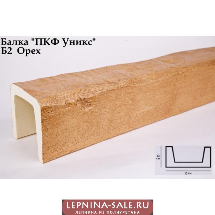Балки из полиуретана Б2 (орех) (12*12*300) классика Уникс Lepnina-Sale.ru