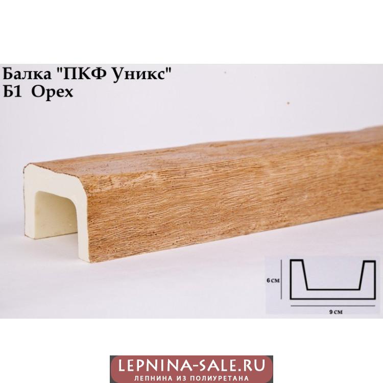 Балки из полиуретана Б1 (орех) (9*6*300) классика Уникс Lepnina-Sale.ru
