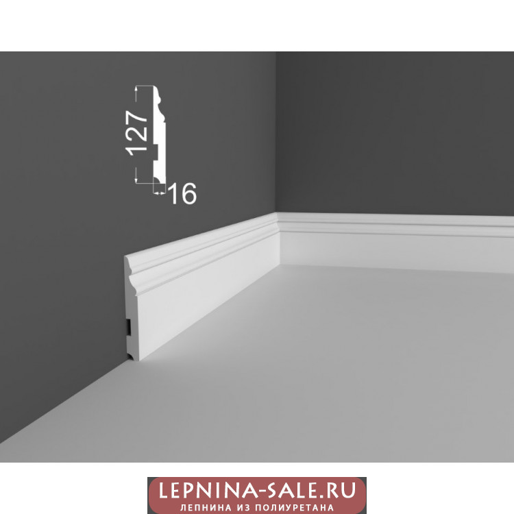 Плинтус P 24.127.16 DEARTIO (ДеАртио) МДФ Белый Lepnina-Sale.ru